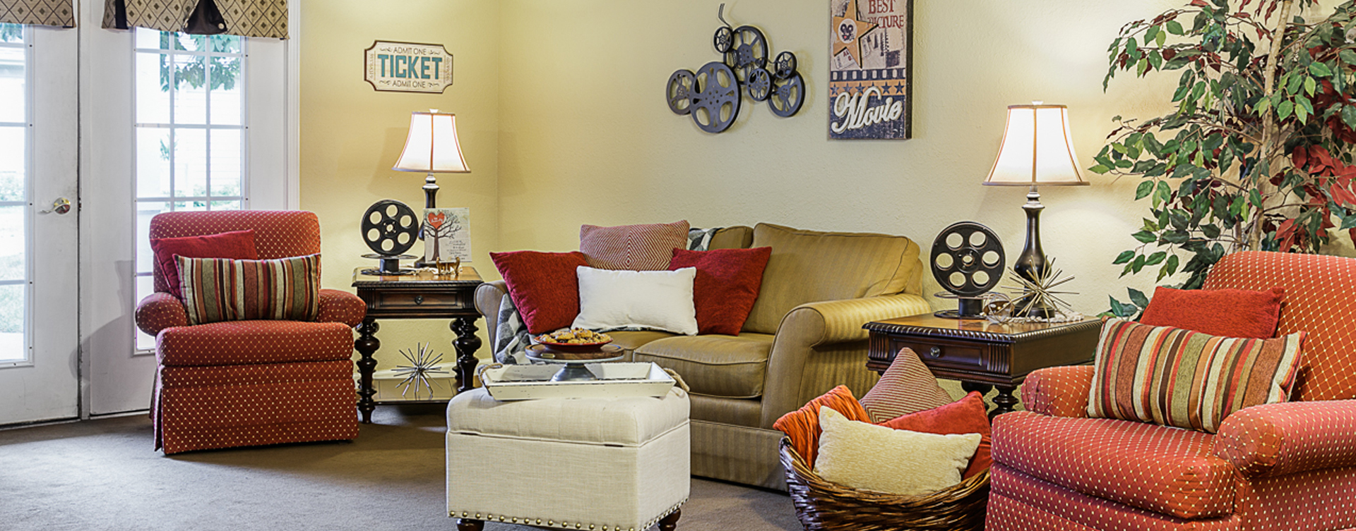 Enjoy a good book in the sitting area at Bickford of Omaha - Hickory