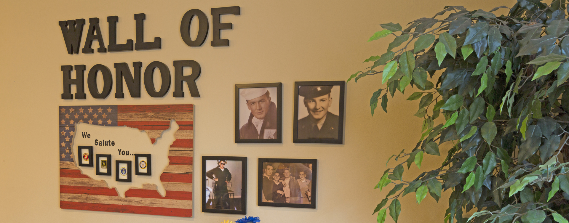 We salute all veteran residents on our Wall of Honor at Bickford of Omaha Hickory