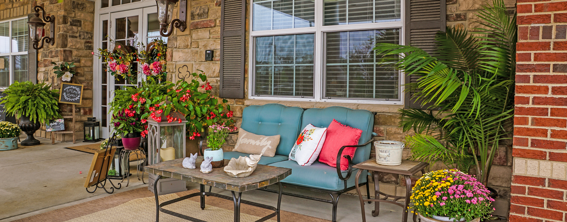 Sip on your favorite drink on the porch at Bickford of Aurora