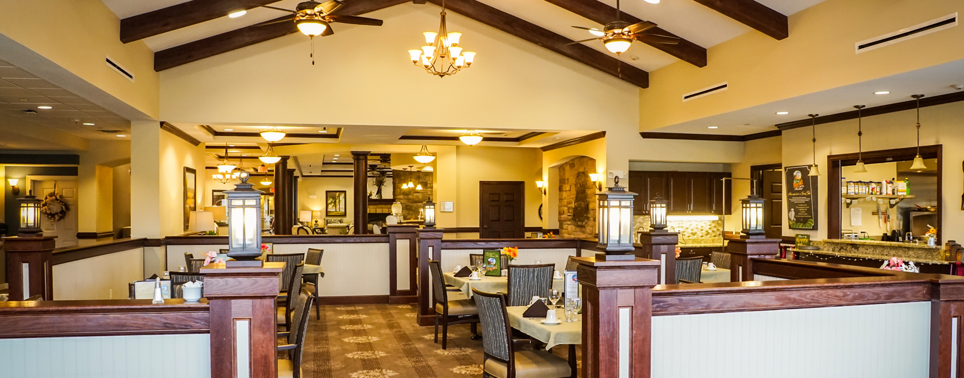 Enjoy homestyle food with made-from-scratch recipes in our dining room at Bickford of Aurora