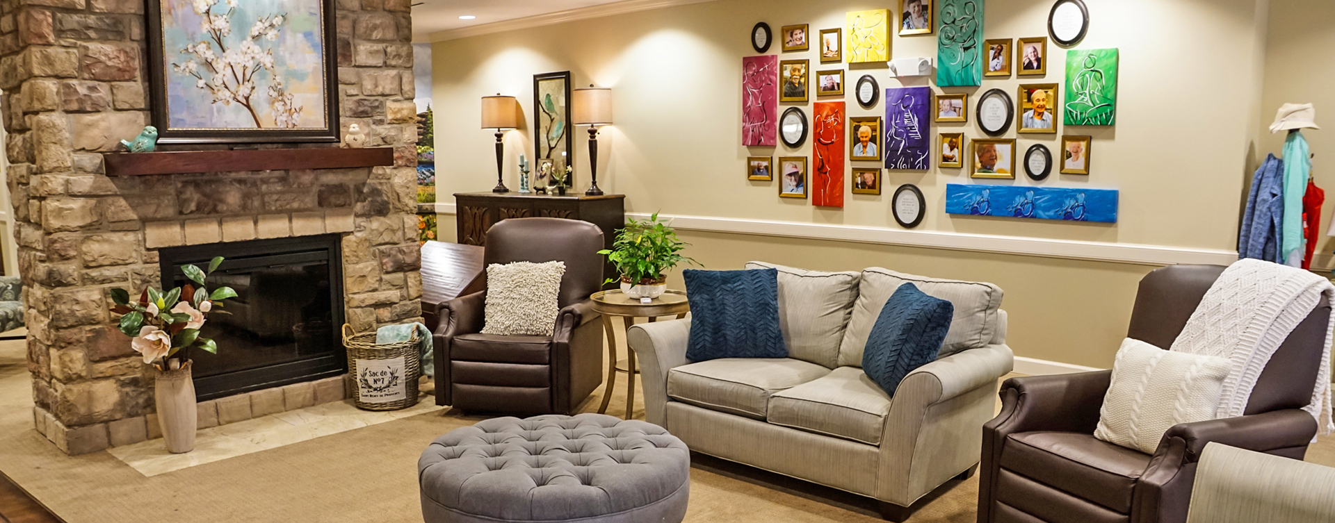Chairs and sofas sit higher and are easier to get in and out of in the Mary B's living room at Bickford of Aurora