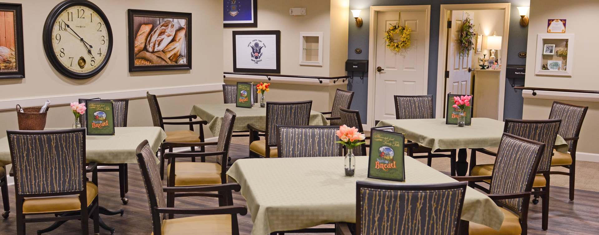 Residents with dementia receive additional assistance with meals in our Mary B's dining room at Bickford of Aurora