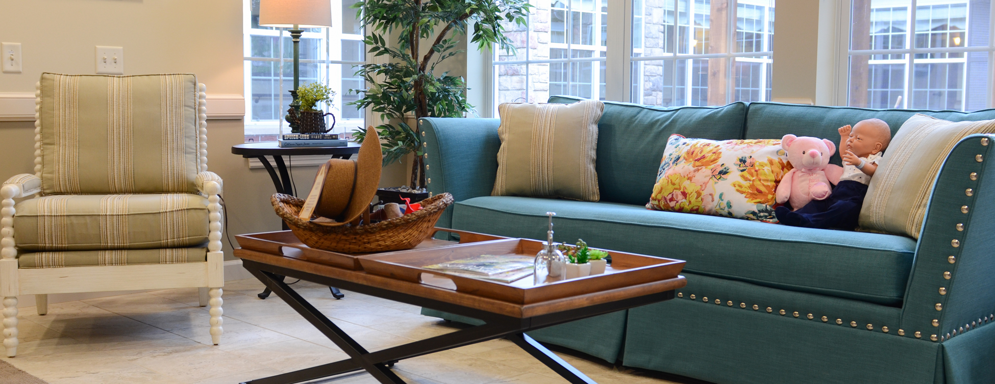 Curl up with a good book in the sunroom at Bickford of Aurora
