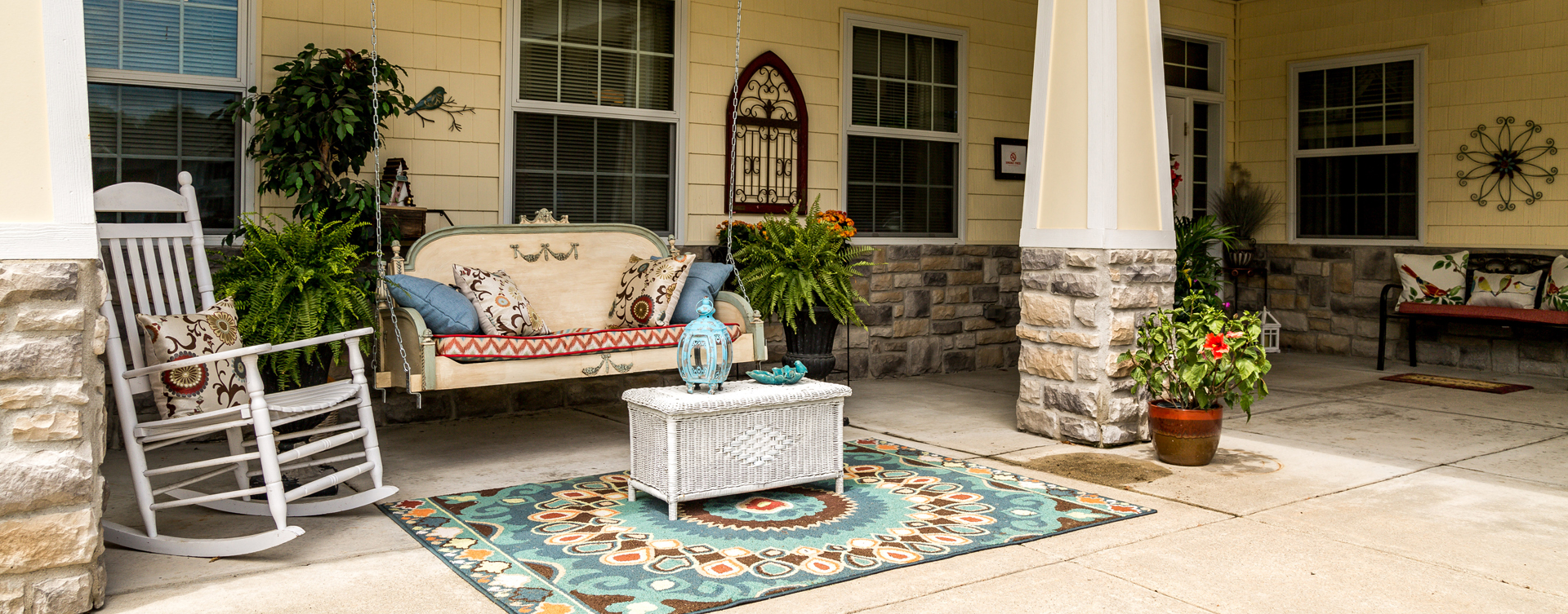 Relax in your favorite chair on the porch at Bickford of Battle Creek