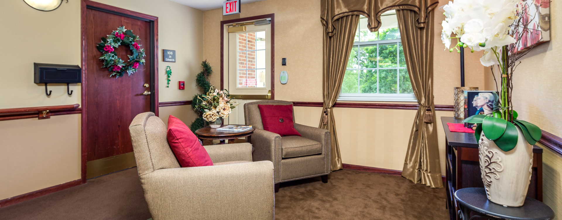 Enjoy a good book in the sitting area at Bickford of Battle Creek
