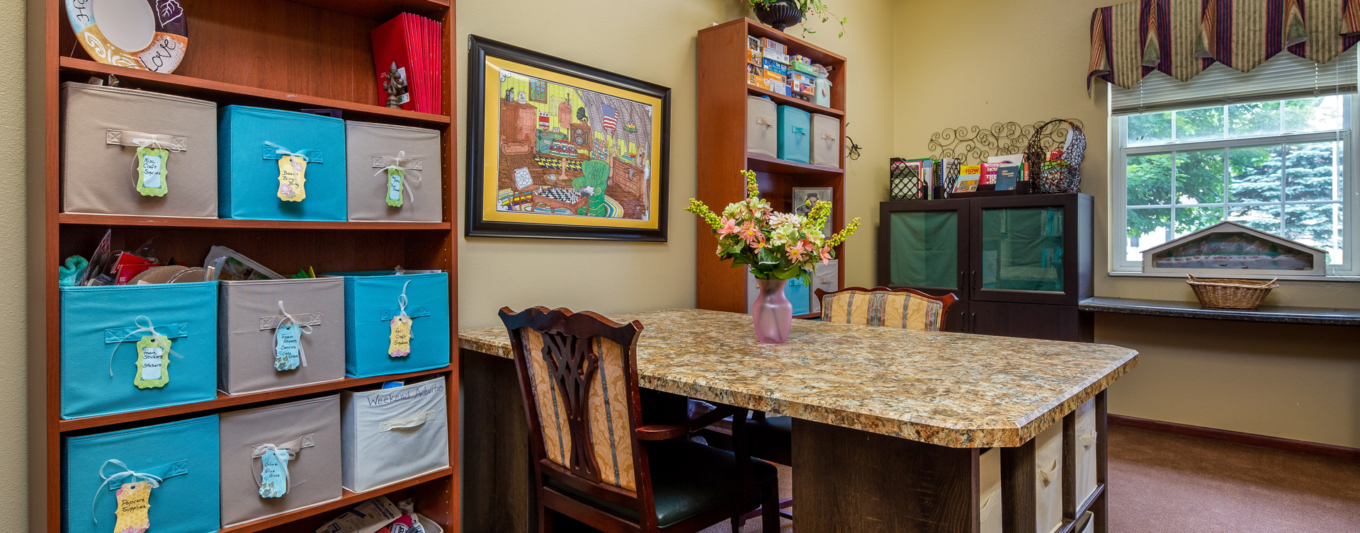 Unleash your creative side in the activity room at Bickford of Battle Creek