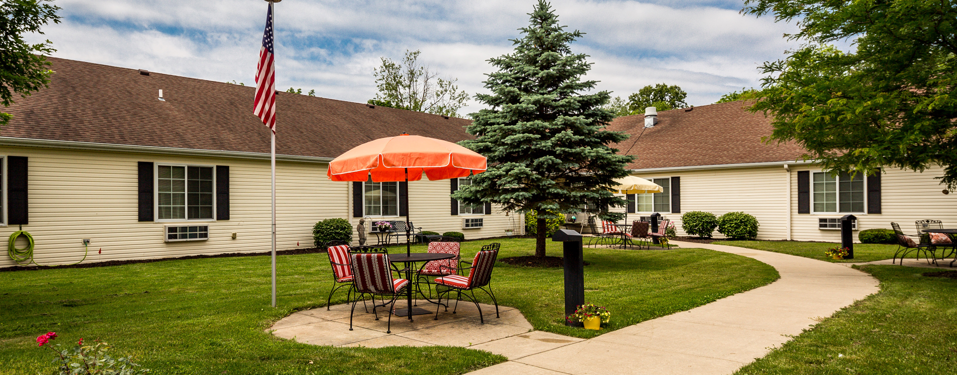 Enjoy the outdoors in a whole new light by stepping into our secure courtyard at Bickford of Battle Creek