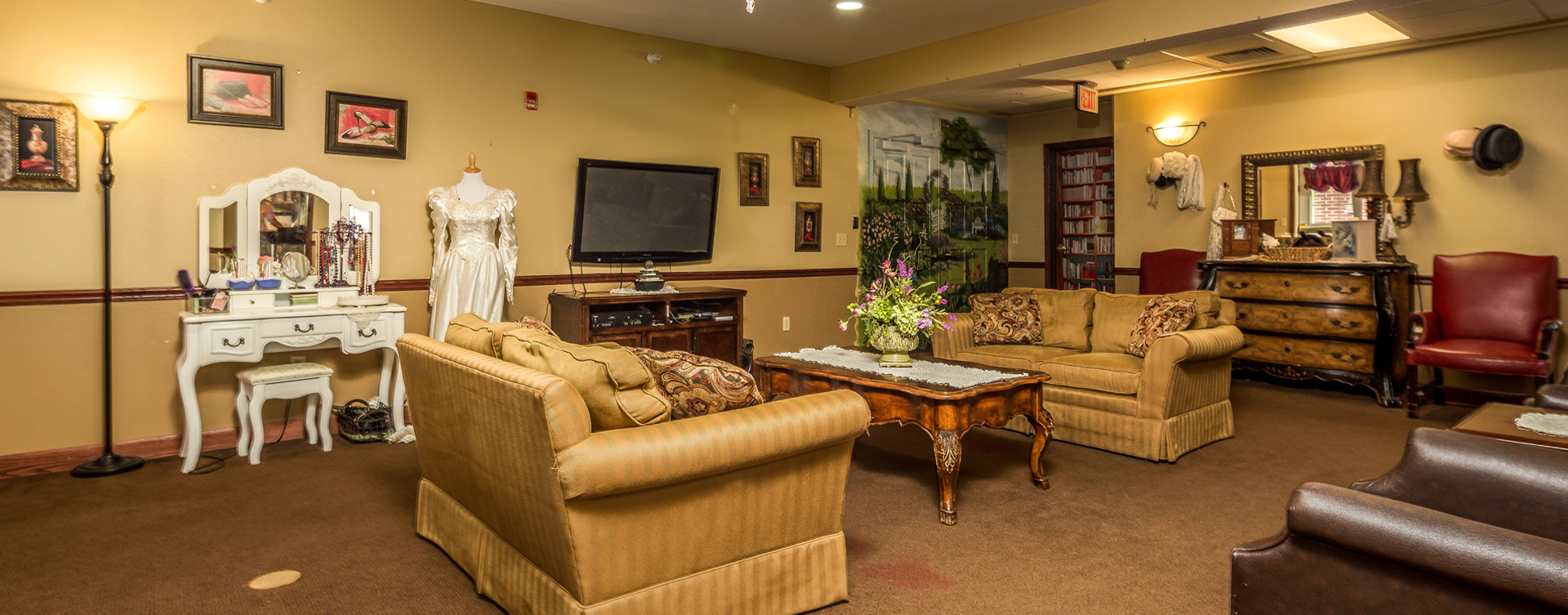 Chairs and sofas sit higher and are easier to get in and out of in the Mary B's living room at Bickford of Battle Creek