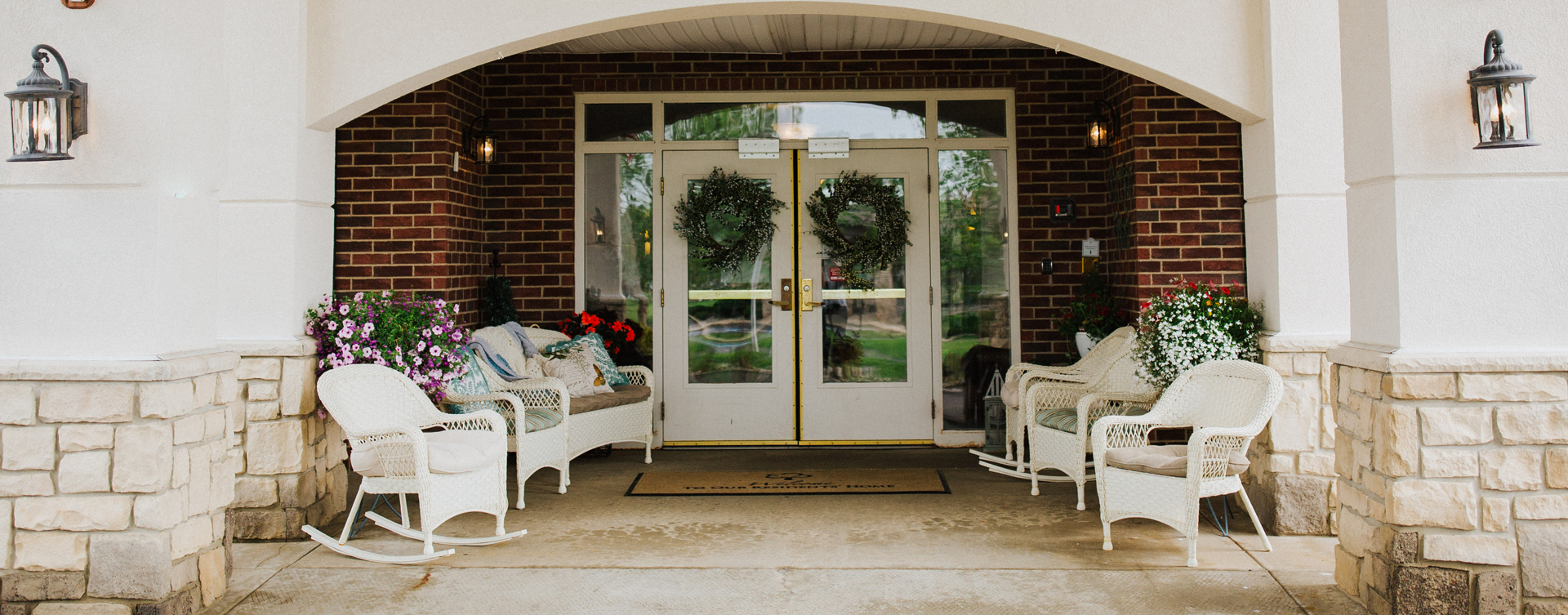 Relax in your favorite chair on the porch at Bickford of Bourbonnais