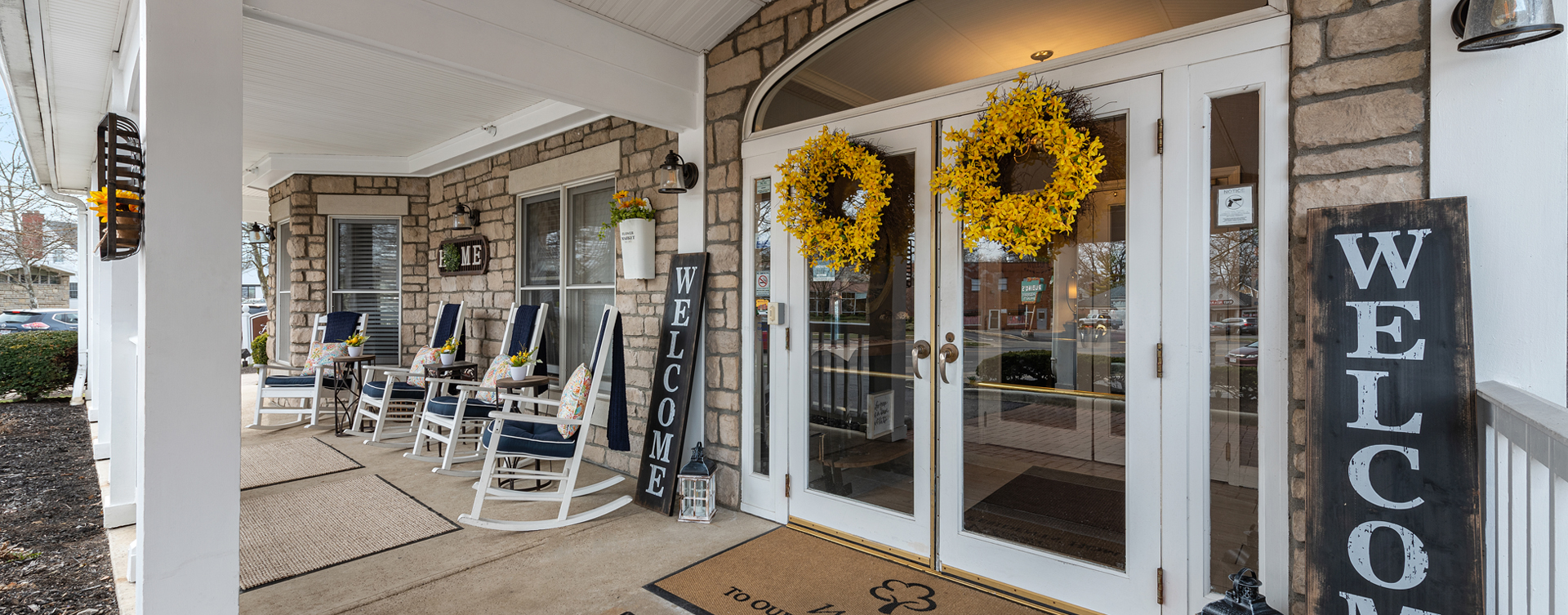 Sip on your favorite drink on the porch at Bickford of Bexley