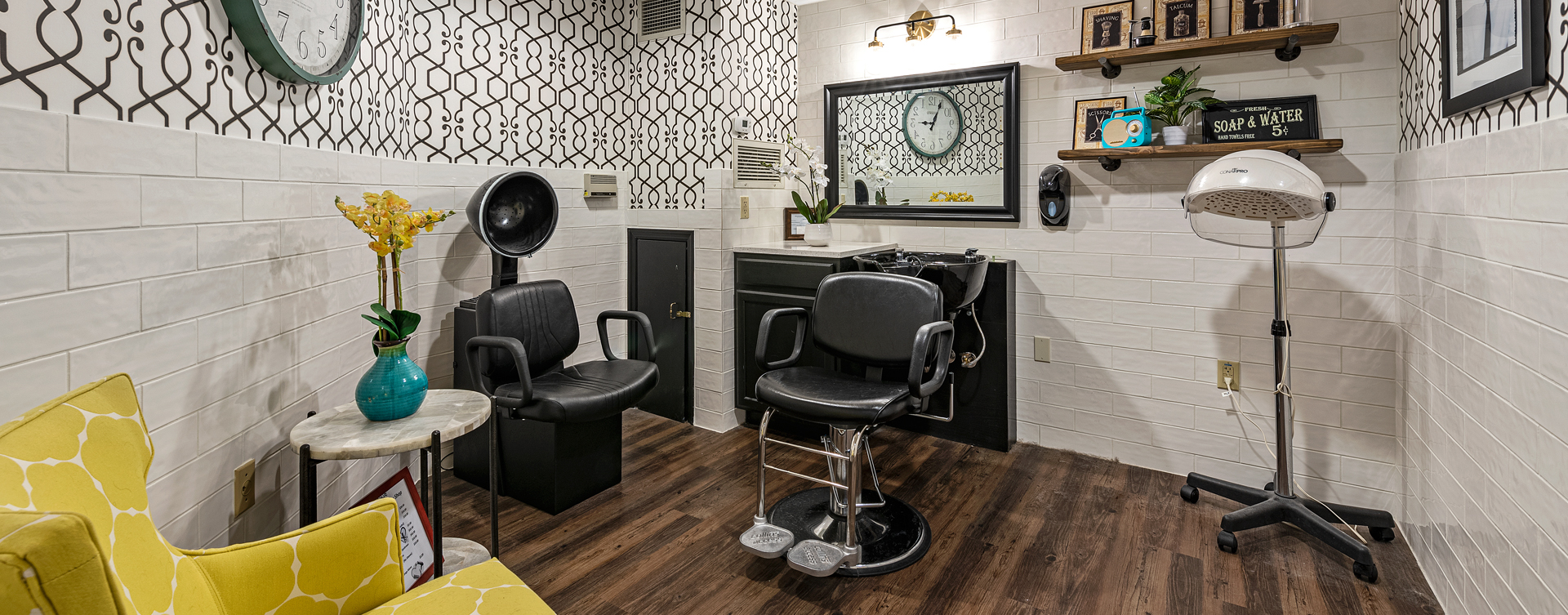 Receive personalized, at-home treatment from our stylist in the salon at Bickford of Bexley
