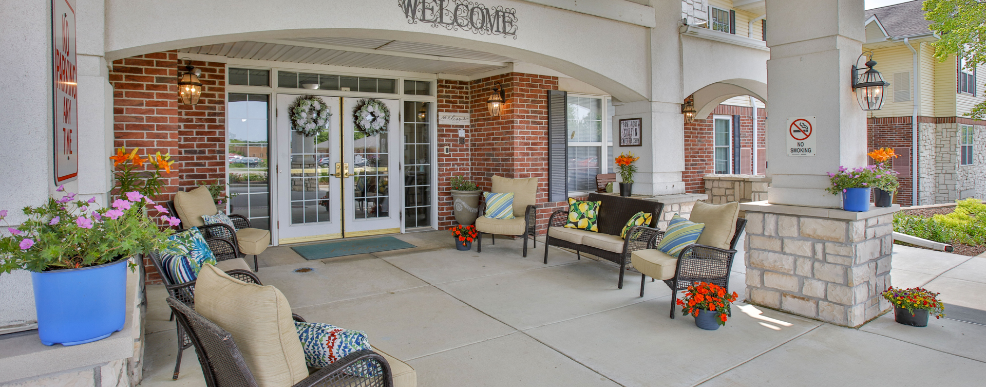 Sip on your favorite drink on the porch at Bickford of Bloomington
