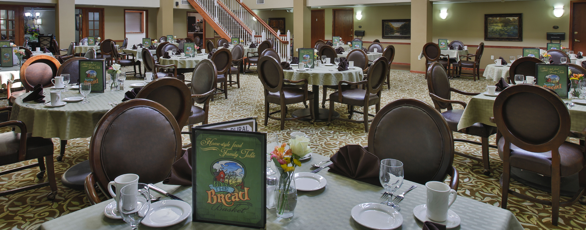 Enjoy restaurant -style meals served three times a day in our dining room at Bickford of Bloomington