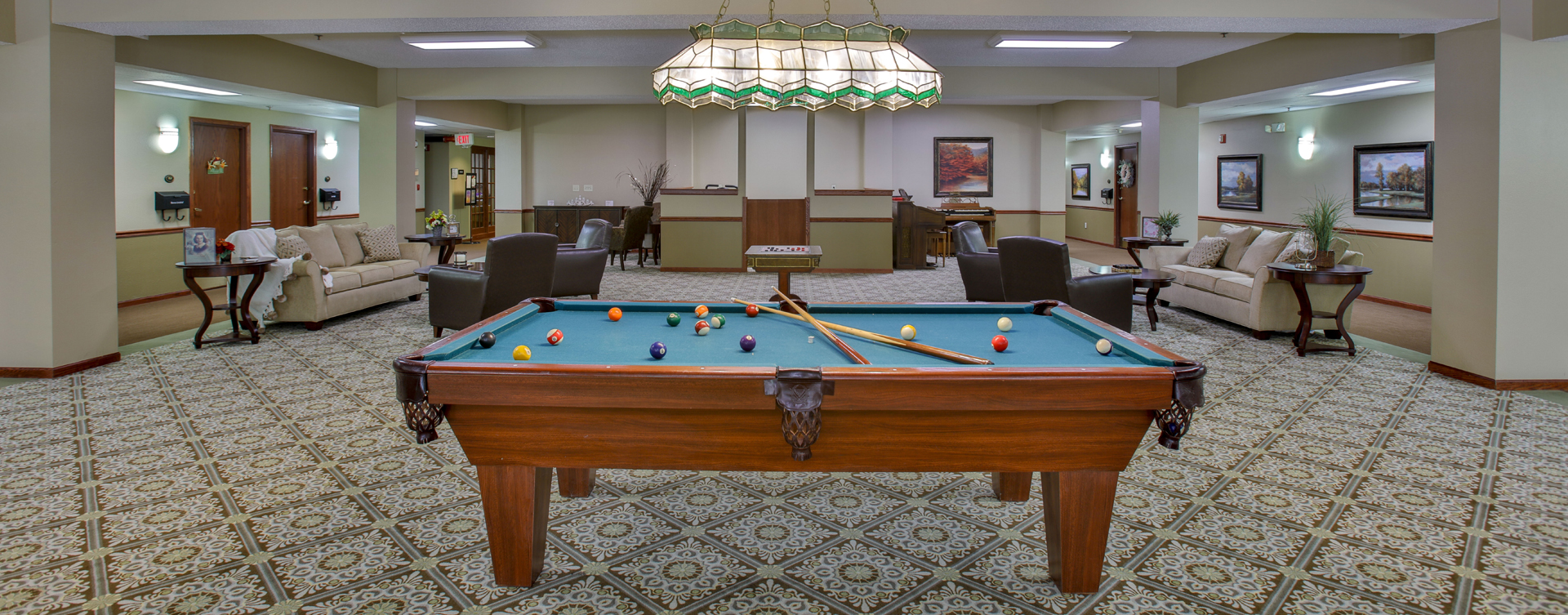 Enjoy a game of pool with friends at Bickford of Bloomington