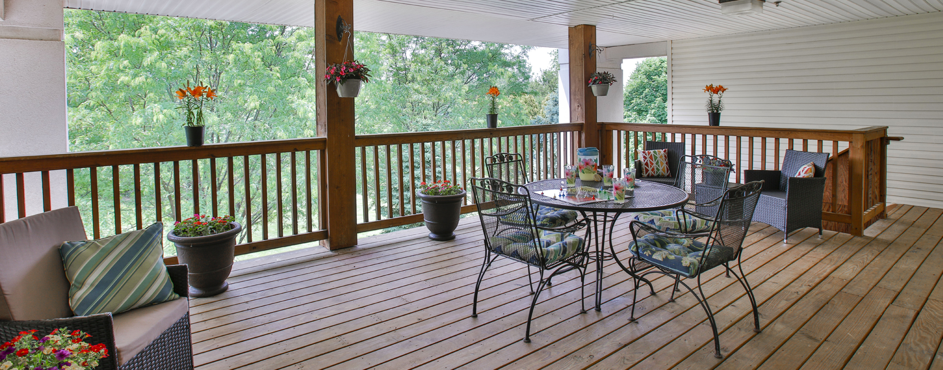 Enjoy the outdoors in a whole new light by stepping onto our back deck at Bickford of Bloomington