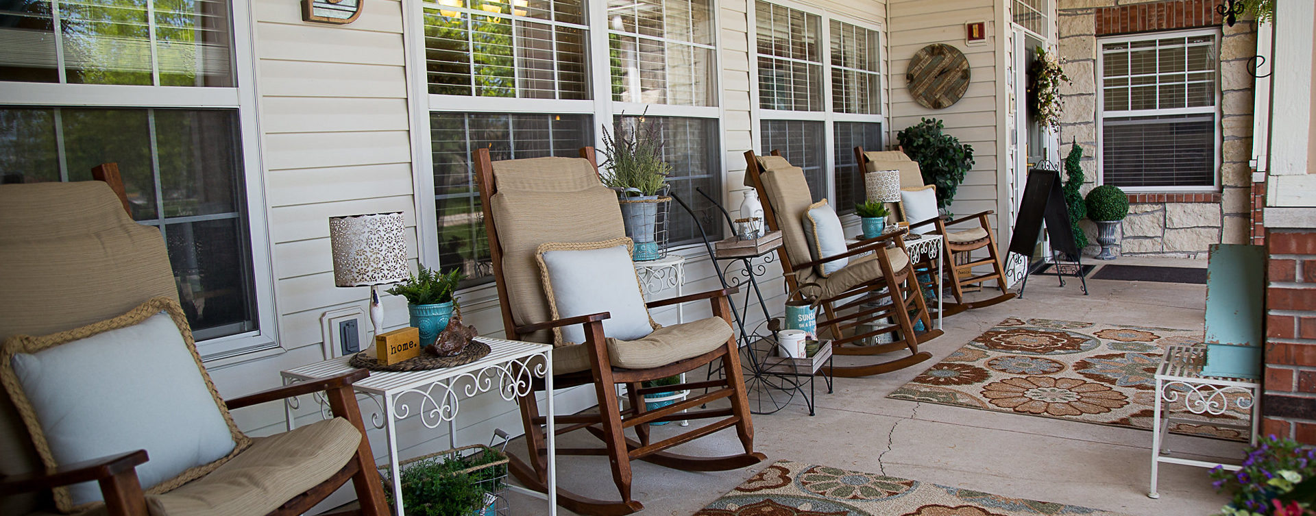 Relax in your favorite chair on the porch at Bickford of Burlington