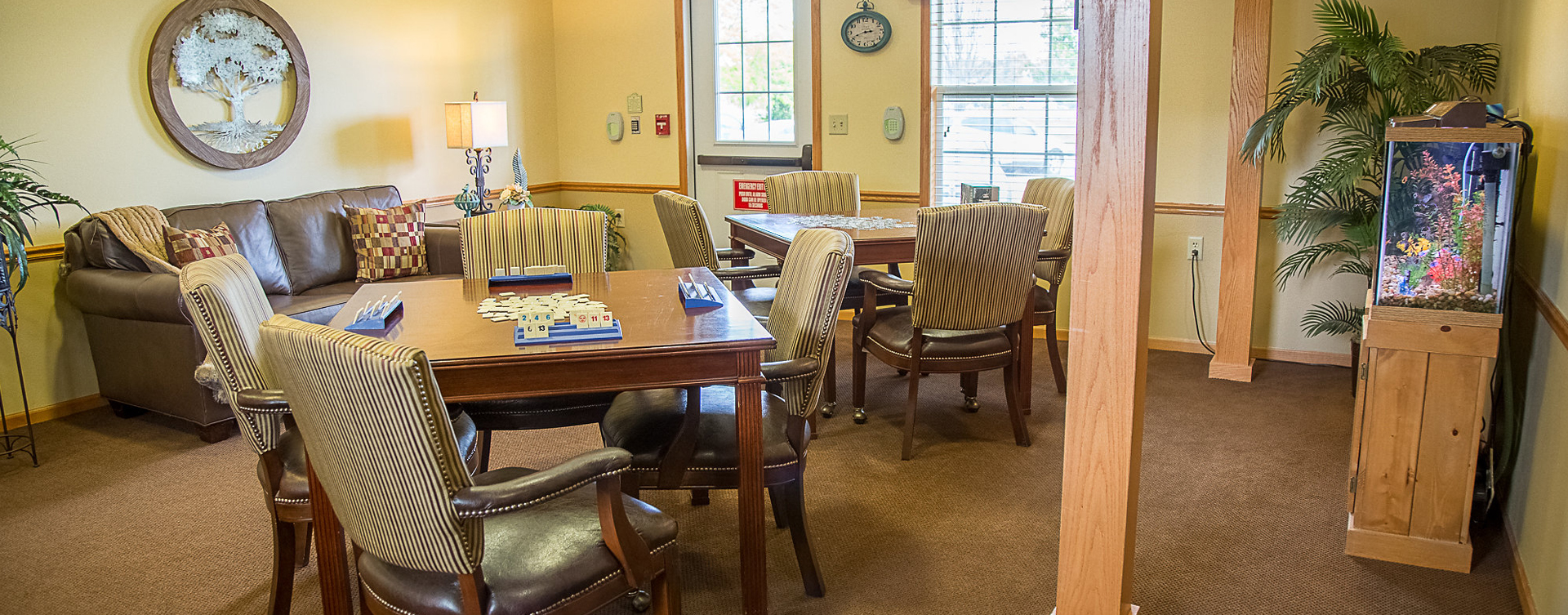 Enjoy a good card game with friends in the activity room at Bickford of Burlington