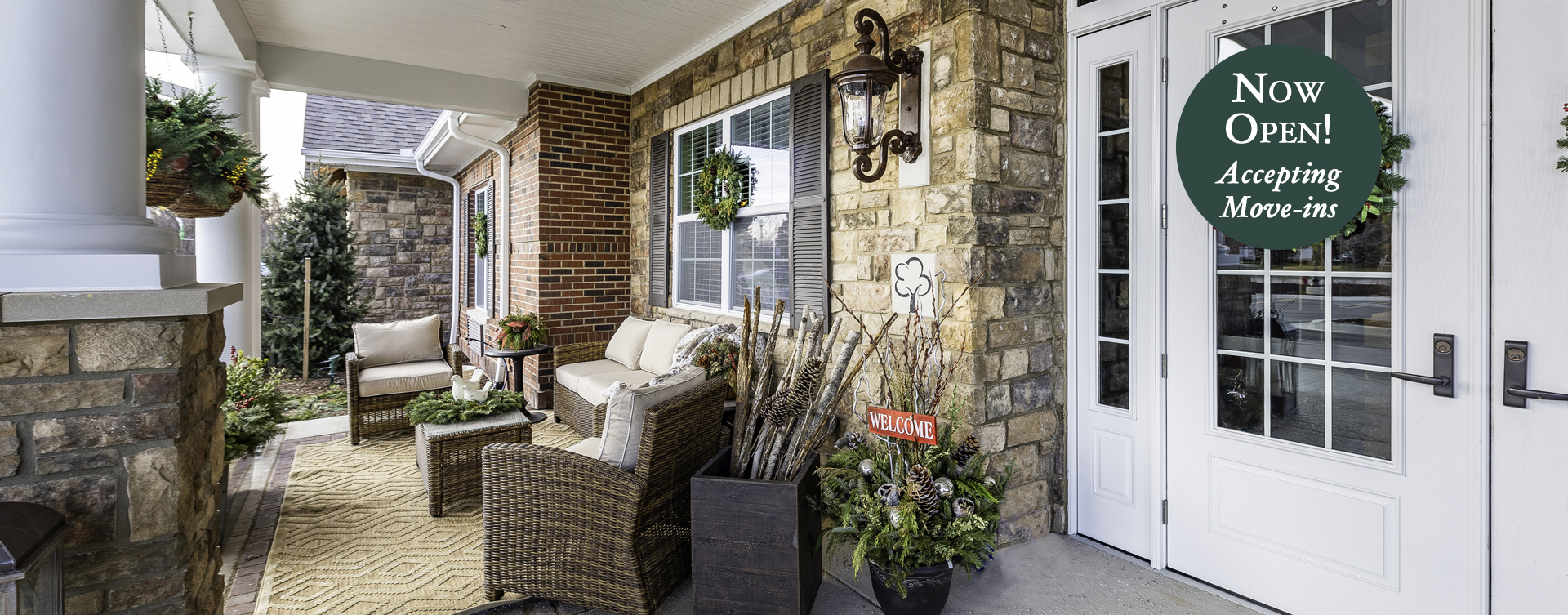 Relax in your favorite chair on the porch at Bickford of Canton