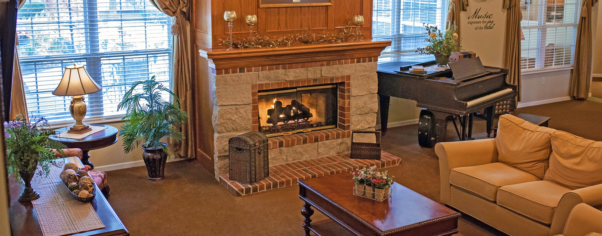 Socialize with friends in the living room at Bickford of Cedar Falls