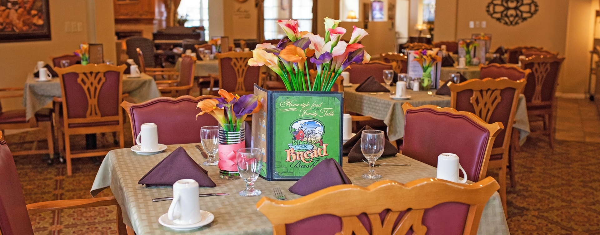 Food is best when shared with friends in the dining room at Bickford of Cedar Falls