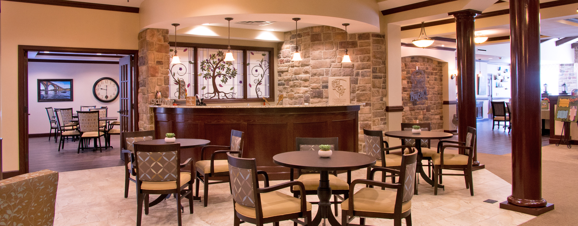 Mingle and converse with old and new friends alike in the bistro at Bickford of Chesterfield