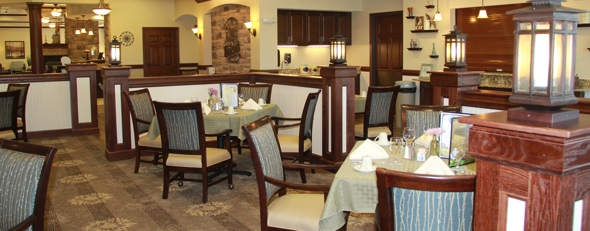 Enjoy restaurant -style meals served three times a day in our dining room at Bickford of Chesterfield