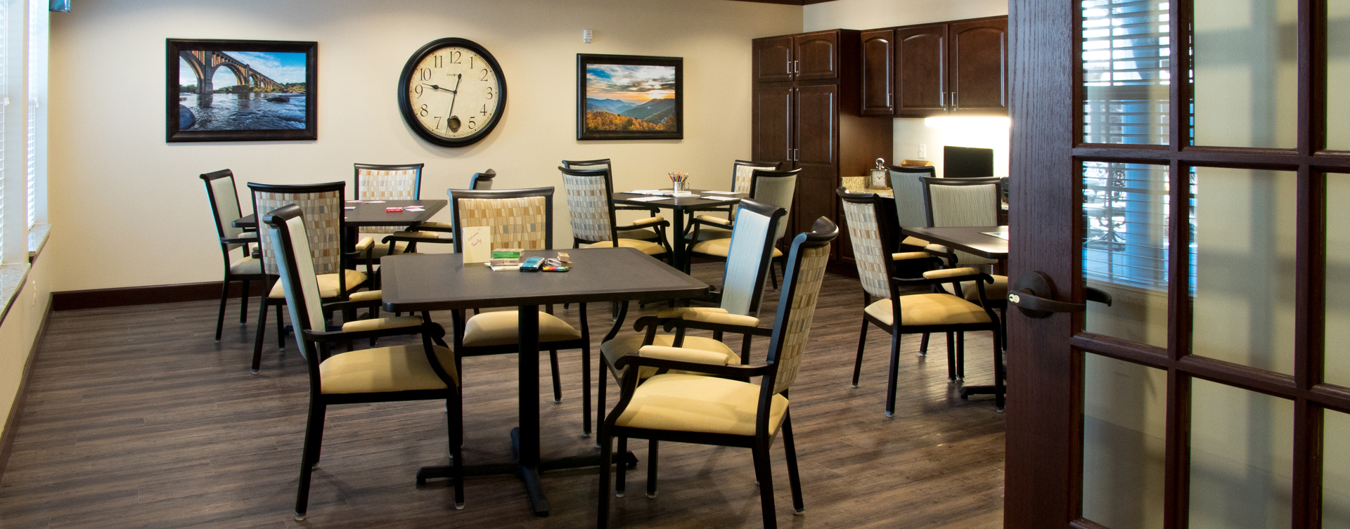 Enjoy a good card game with friends in the activity room at Bickford of Chesterfield
