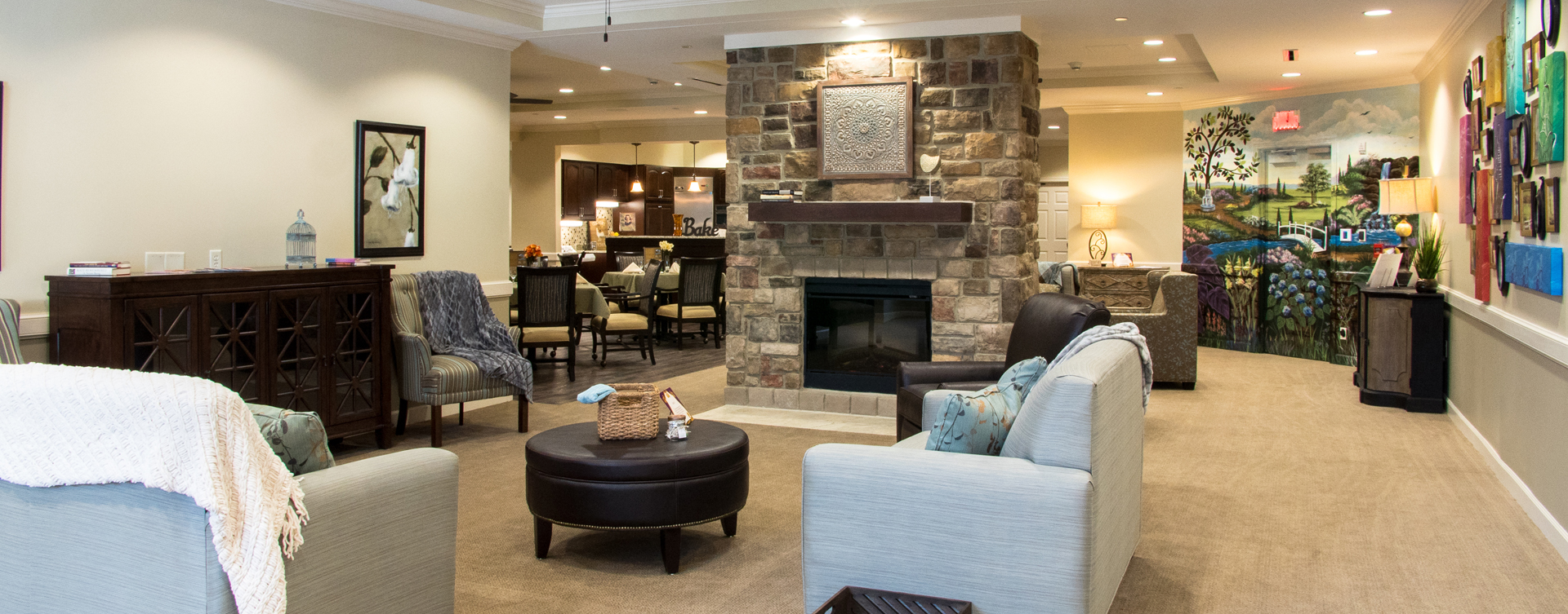 Chairs and sofas sit higher and are easier to get in and out of in the Mary B's living room at Bickford of Chesterfield