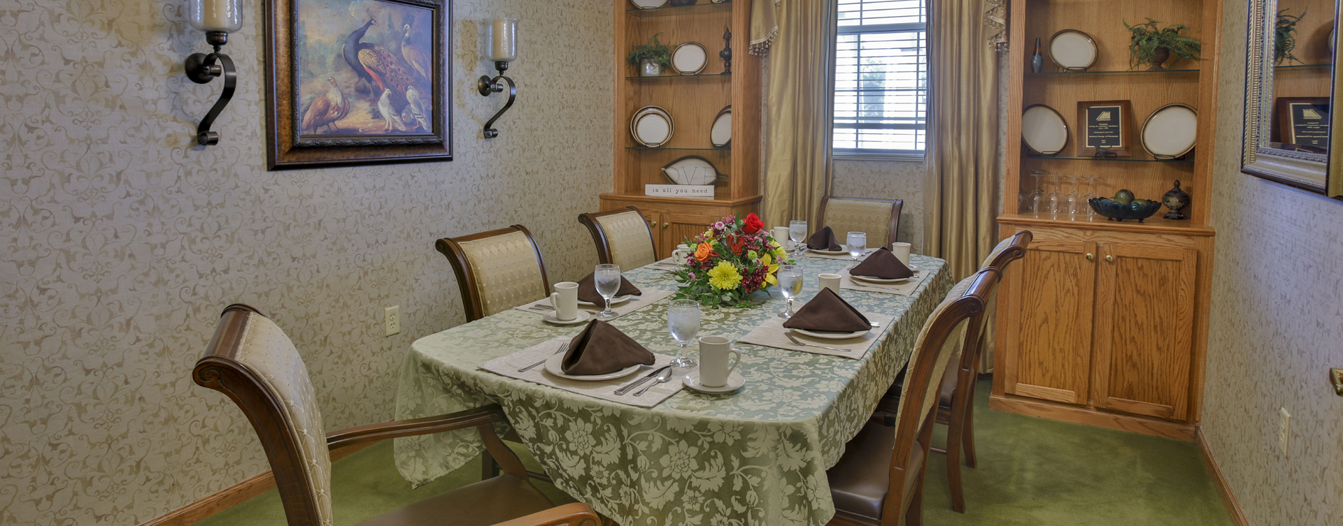 Have fun with themed and holiday meals in the private dining room at Bickford of Champaign