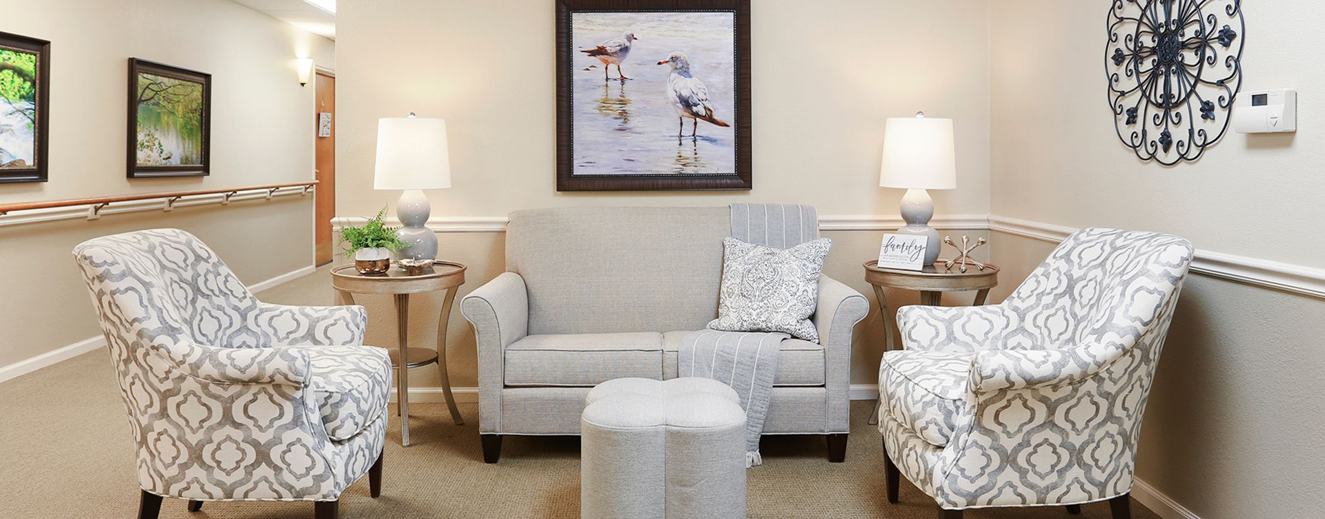 Enjoy a good book in the sitting area at Bickford of Champaign