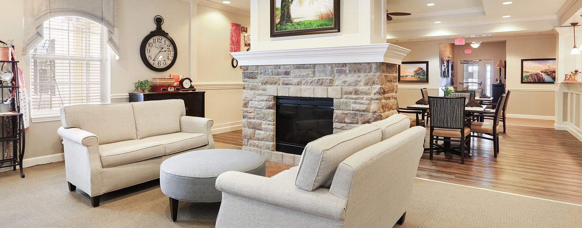 Mary B's living room provides a smaller, more intimate setting to encourage interaction at Bickford of Champaign