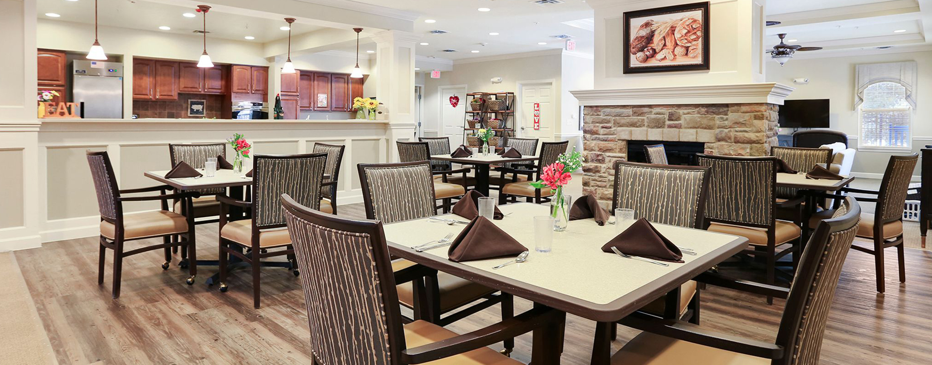 Mary B's country kitchen helps establish routines, creates activities and triggers a sense of meal time at Bickford of Champaign