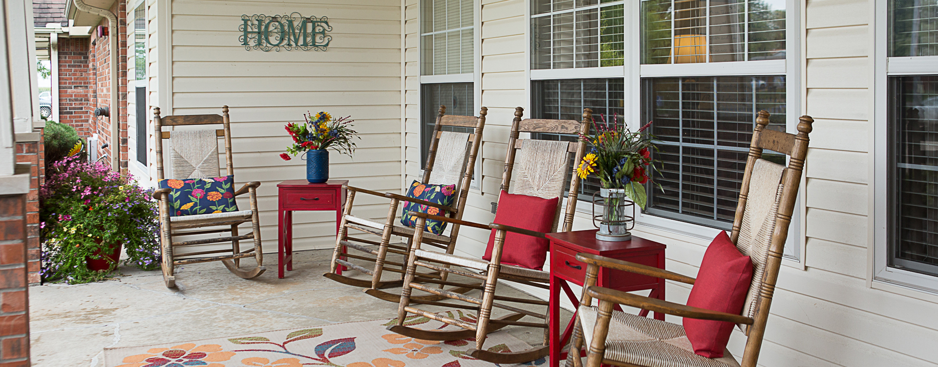 Relax in your favorite chair on the porch at Bickford of Clinton