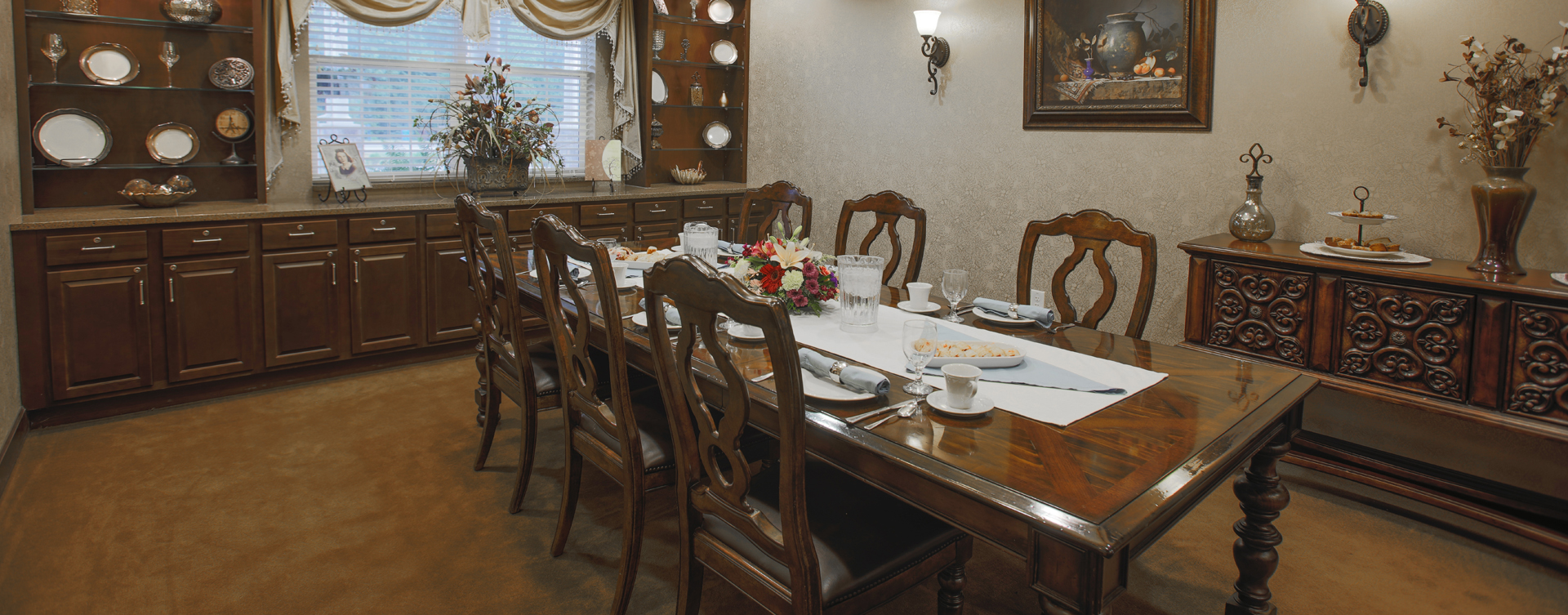 Food is best when shared with family and friends in the private dining room at Bickford of Carmel
