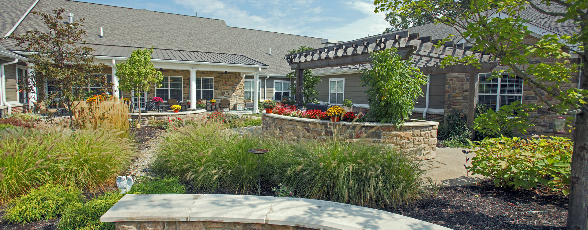 Enjoy the outdoors in a whole new light by stepping into our secure courtyard at Bickford of Carmel