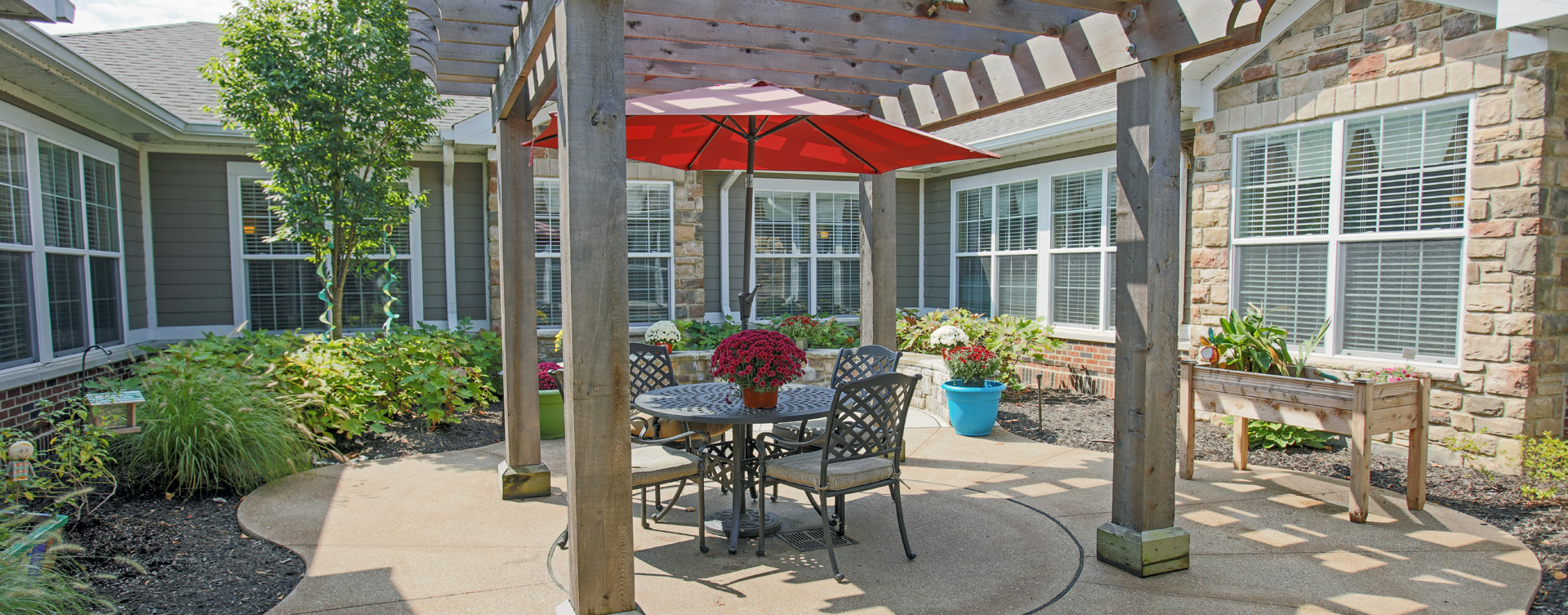 Residents with dementia can enjoy the outdoors by stepping into our secure courtyard at Bickford of Carmel