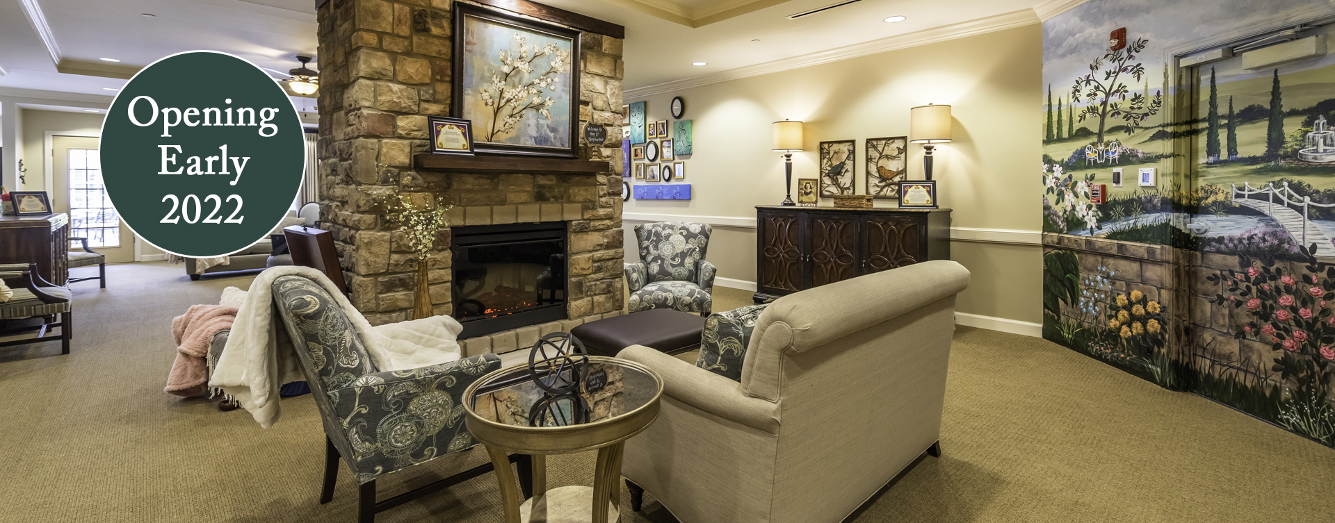 Chairs and sofas sit higher and are easier to get in and out of in the Mary B's living room at Bickford of Chesapeake