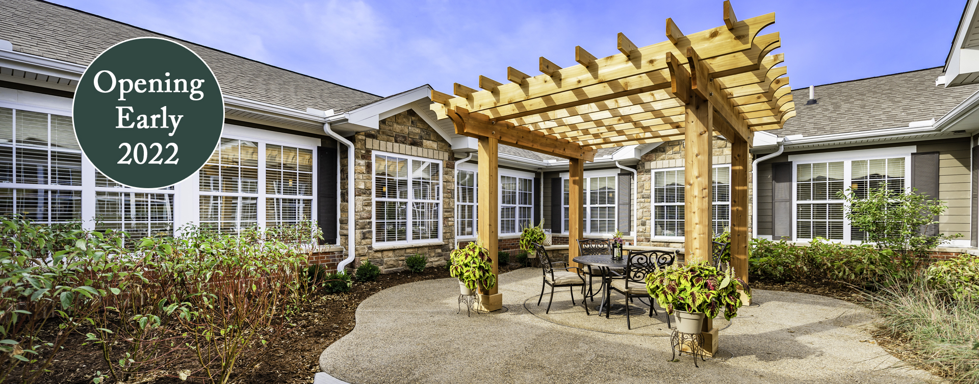 Residents with dementia can enjoy the outdoors by stepping into our secure courtyard at Bickford of Chesapeake