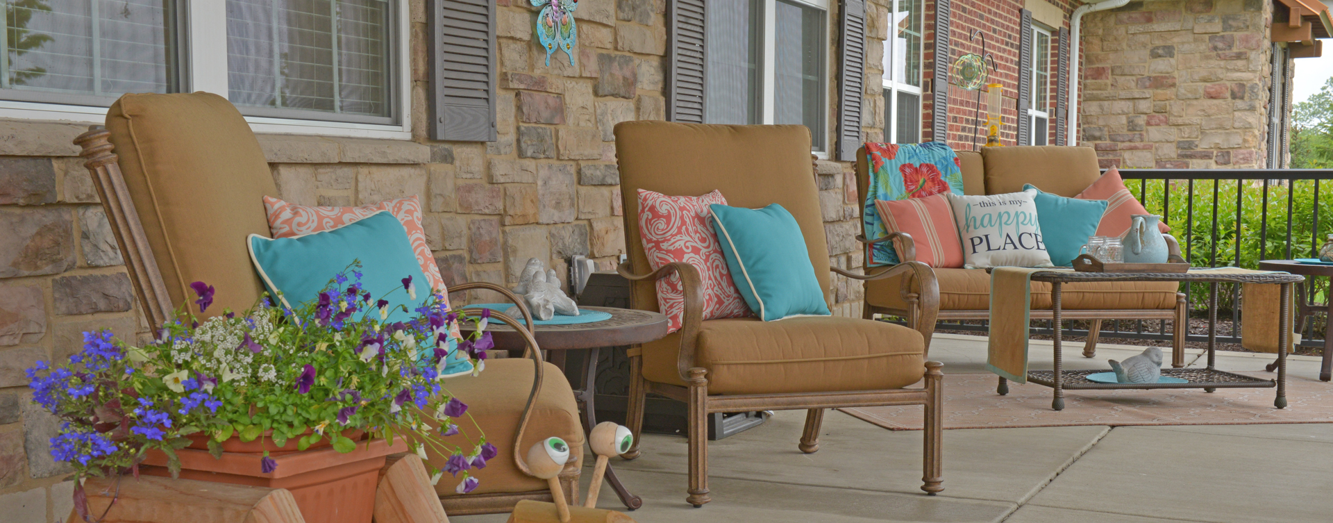 Relax in your favorite chair on the porch at Bickford of Crown Point