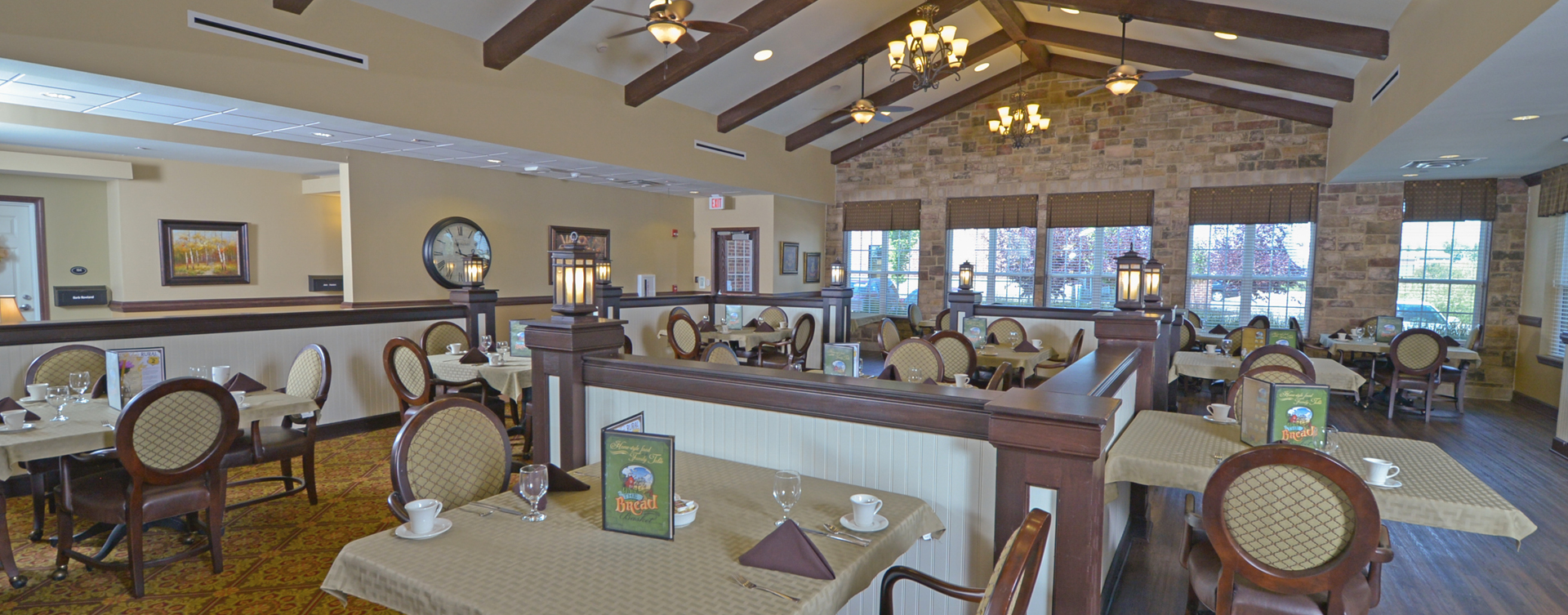 Enjoy restaurant -style meals served three times a day in our dining room at Bickford of Crown Point