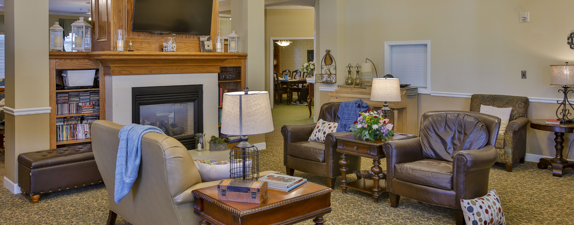 Socialize with friends in the living room at Bickford of Crawfordsville