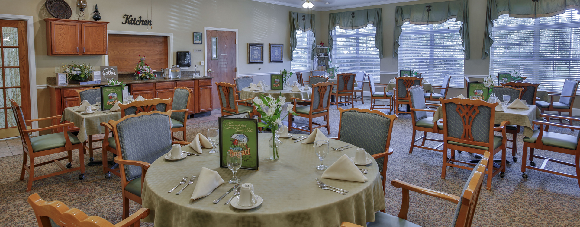 Enjoy homestyle food with made-from-scratch recipes in our dining room at Bickford of Crawfordsville