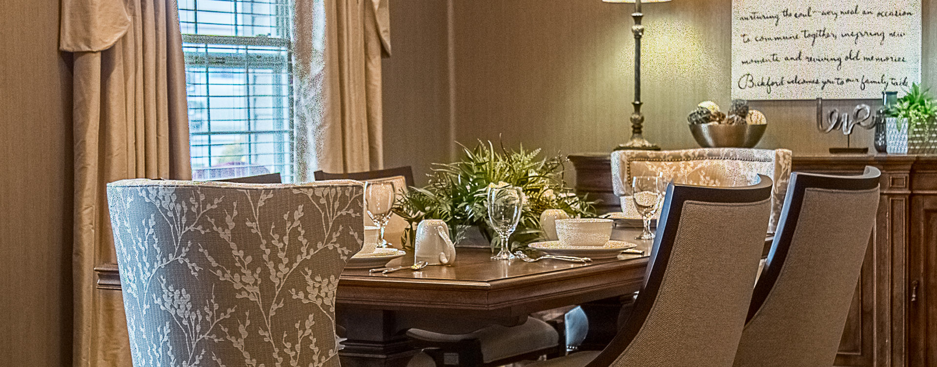 Food is best when shared with family and friends in the private dining room at Bickford of Davenport