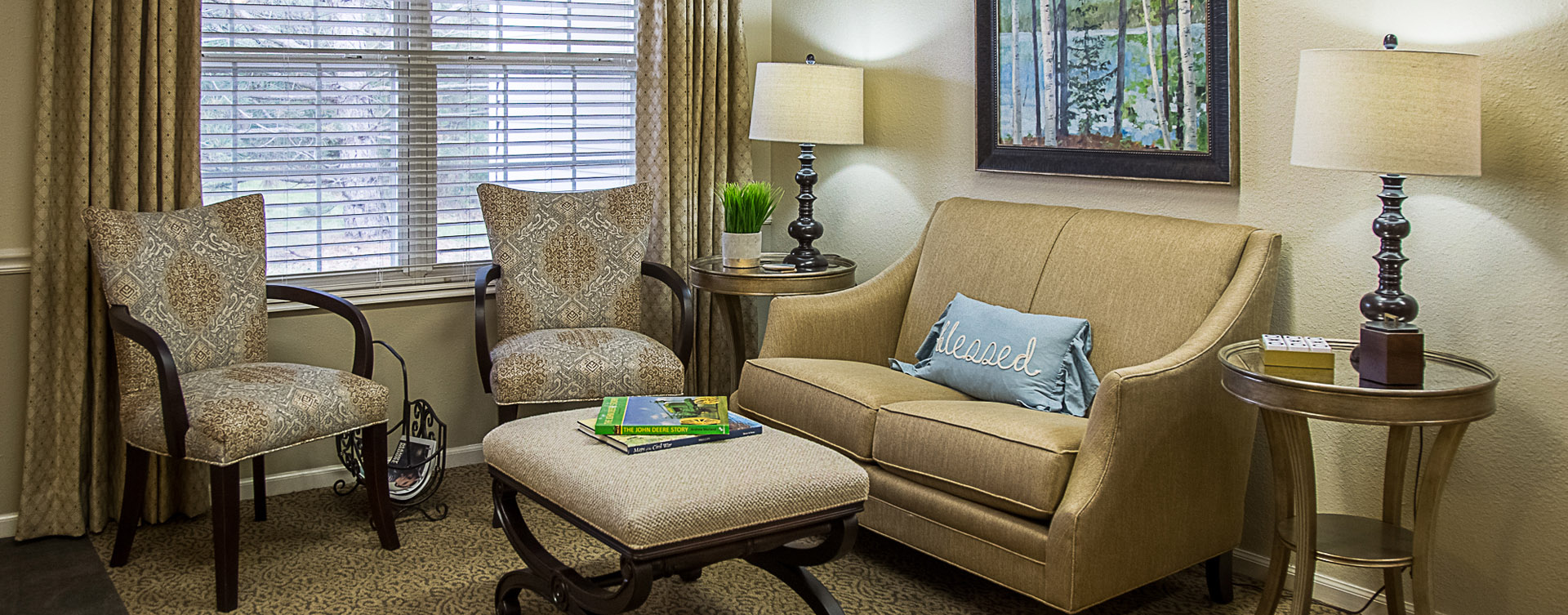 Enjoy a good book in the sitting area at Bickford of Davenport