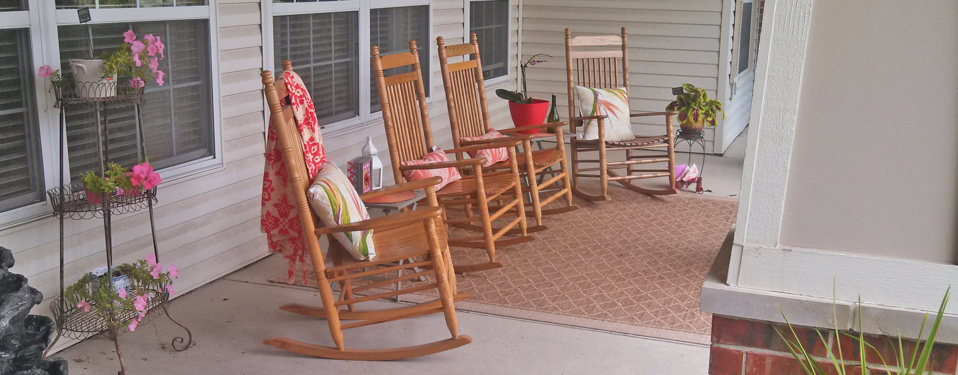 Relax in your favorite chair on the porch at Bickford of Fort Dodge