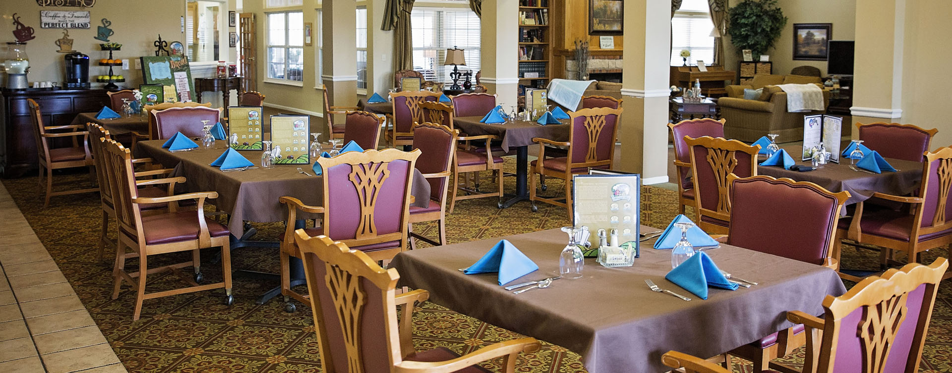 Food is best when shared with friends in the dining room at Bickford of Grand Island