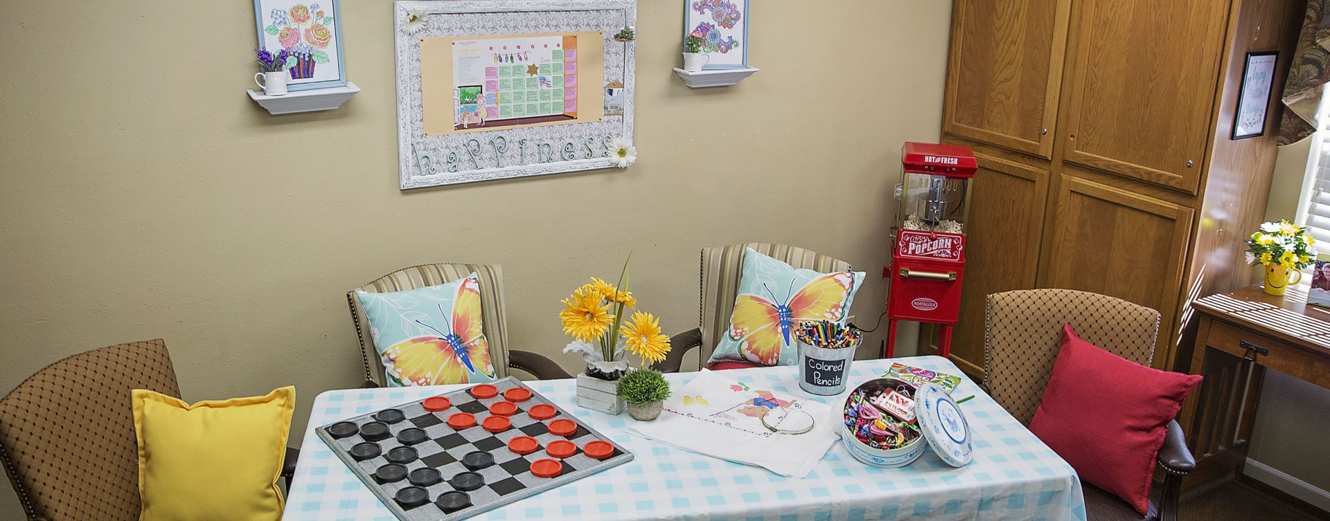 Enjoy a good card game with friends in the activity room at Bickford of Grand Island