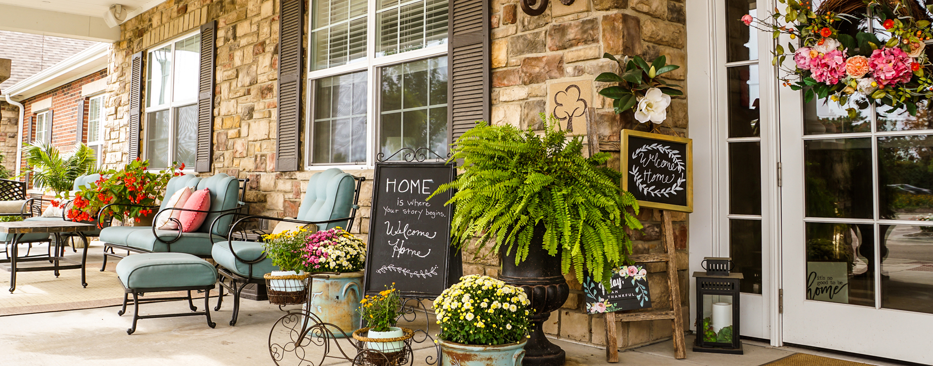Enjoy conversations with friends on the porch at Bickford of Gurnee