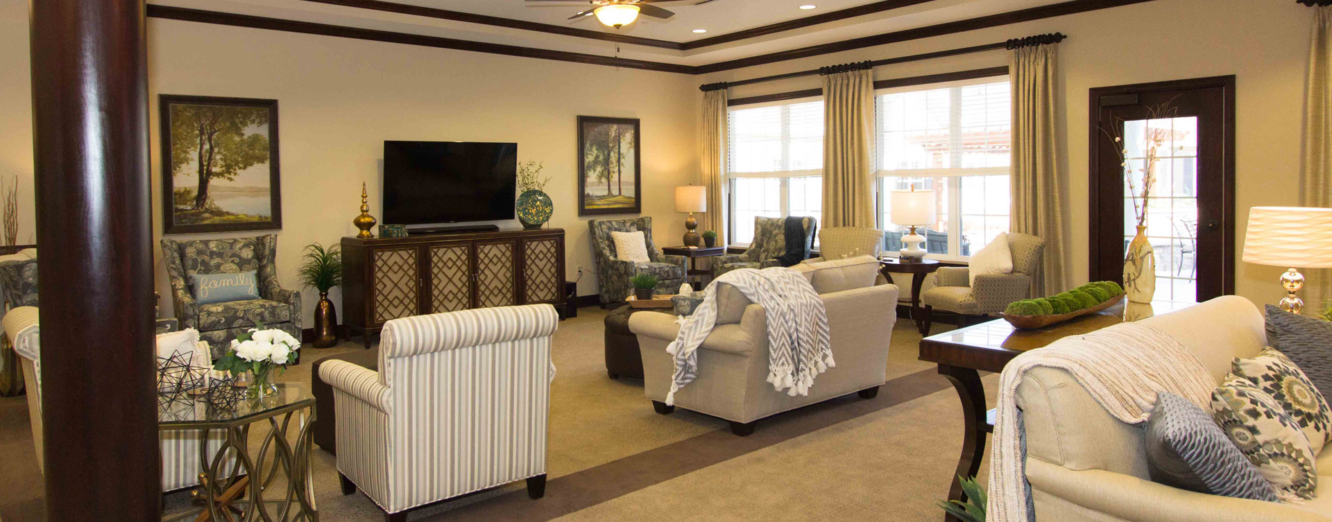 Socialize with friends in the living room at Bickford of Gurnee