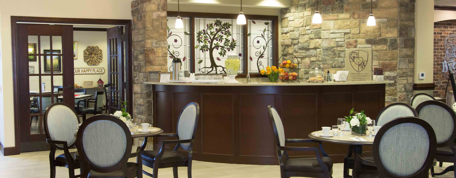 Mingle and converse with old and new friends alike in the bistro at Bickford of Gurnee